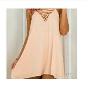 Pink 'XX' front lace up dress